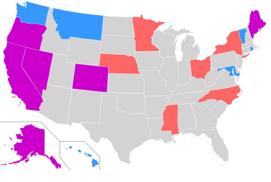 Blau = Bundesstaaten mit Gesetzen zu medizinischem Cannabis Orange = Bundesstaaten mit Gesetzen zur Cannabis-Entkriminalisierung Pink = Bundesstaaten mit Gesetzen auf beiden Gebieten (Stand: Januar 2008)
