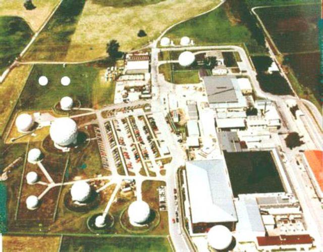 """US-Militärbasis in Bad Aibling bei München, Teil des weltweiten Lauschsystems """"Echelon""""."""