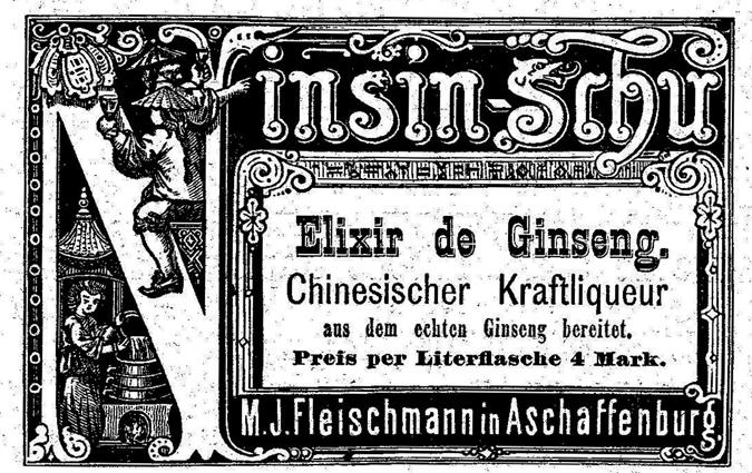 """Werbung von 1879 für einen """"Elixir de Ginseng"""""""